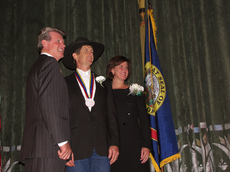 Cary receiving the Governor's Award for the Arts. Governor Butch Otter and First Lady Lori Otter at the Egyptian Theater, Boise, Idaho.